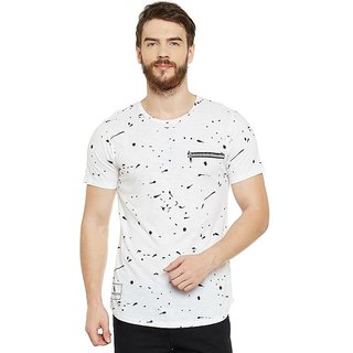 LE BOURGEOIS Men's White Printed Round Neck T-Shirt