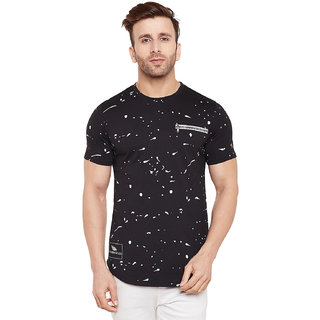 LE BOURGEOIS Men's Black Printed Round Neck T-Shirt