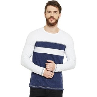 LE BOURGEOIS Men's Blue Plain Round Neck T-Shirt
