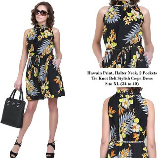 Stylish Halter Neck Pleated Hawain Print Dresswith pockets