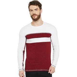 LE BOURGEOIS Men's Maroon Plain Round Neck T-Shirt