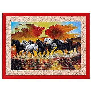 7 Horse Textured UV Effect with Acrylic Glass Painting - Abstract Modern Art Home Wall Décor Hangings Gift Items