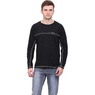 LE BOURGEOIS Men's Black Plain Round Neck T-Shirt