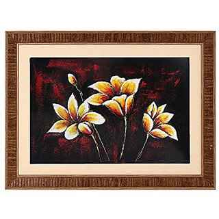Floral Textured UV Effect with Acrylic Glass Painting - Abstract Modern Art Home Wall Décor Hangings Gift Items