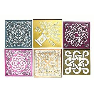 Rangoli Stencils Big Size 12 * 12  Assorted Designs Set Of 6  Used For Marble & Burada Rangoli