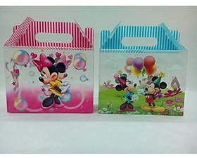 Return Gifts Packaging Foldable Boxes Set Of 10 , 5 Pink, 5 Blue, Mickey Design
