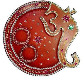 Pooja Tray, Ganesha Design, Wooden , Handmade Decorated With Colors , Beads , Embellishments , In Box Packing