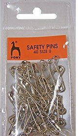 Pony Safety Pins - Nickel Rust Free -Size 0 , 40 Pins In 1 Card, Set Of 5 Cards, Total 200 Safety Pins