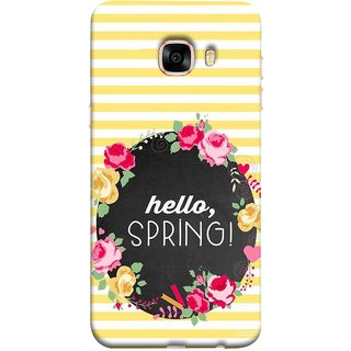 FUSON Designer Back Case Cover for Samsung Galaxy C5 SM-C5000 (Flowers Cake White And Yellow Horizontal Strips )