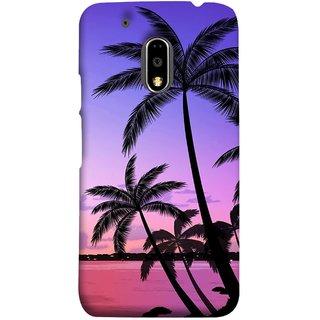 FUSON Designer Back Case Cover for Moto E3 Power :: Motorola Moto E3 Power ( Twilight On The Beach Coconuts Goa Beach Holidays )