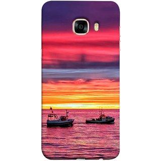 FUSON Designer Back Case Cover for Samsung Galaxy C5 SM-C5000 (Red Sky Horizon Fishing Boats Sun Shining Happy)