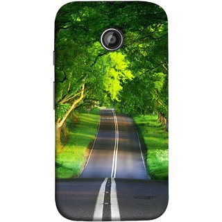 FUSON Designer Back Case Cover for Motorola Moto E2 :: Motorola Moto E Dual SIM (2nd Gen) :: Motorola Moto E 2nd Gen 3G XT1506 :: Motorola Moto E 2nd Gen 4G XT1521 (Road Surrounded By Mountains Beautiful Old Trees )