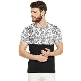 LE BOURGEOIS Men's White Paisley Round Neck T-Shirt