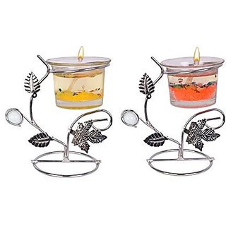 Designer gel wax candles, pack of 2, made of stainless steel glass, Made in  india