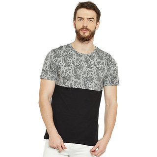LE BOURGEOIS Men's Grey Paisley Round Neck T-Shirt