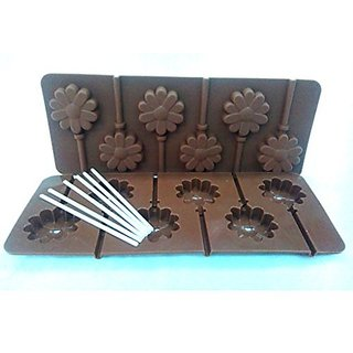 Silicon chocolate or cake lollipop mold , 6 cavities , flower shape with 6 lollipop sticks