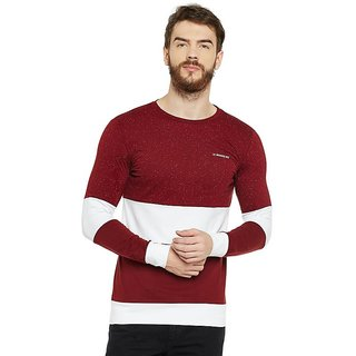 LE BOURGEOIS Men's Maroon Plain Round Neck T-Shirt