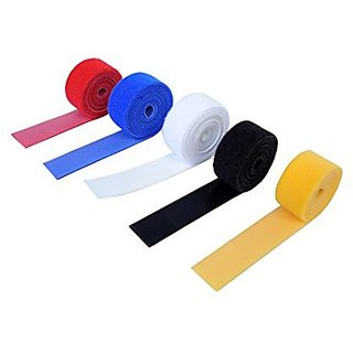 Vardhman Double-Sided Self Gripping Multi-Purpose Hook and Loop fastner Tape Reusable 0.75 Inches 5 colors 2 mts each total 10 mts