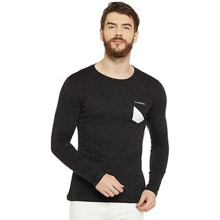 LE BOURGEOIS Men's Black Plain Round Neck T-Shirt