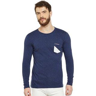 LE BOURGEOIS Men's Blue Plain Round Neck T-Shirt