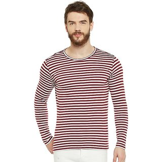 LE BOURGEOIS Men's Maroon Striped Round Neck T-Shirt