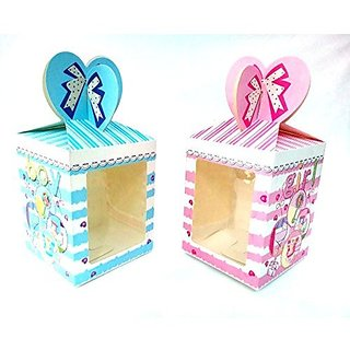 Return Gifts Packaging Foldable Boxes Set Of 10 , 5 Pink, 5 Blue