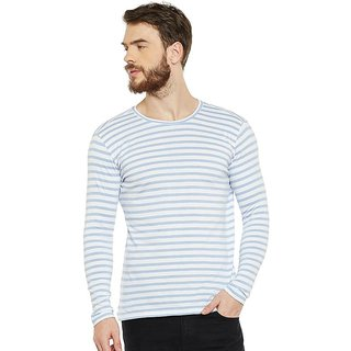 LE BOURGEOIS Men's Sky Blue Striped Round Neck T-Shirt