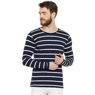 LE BOURGEOIS Men's Navy Striped Round Neck T-Shirt