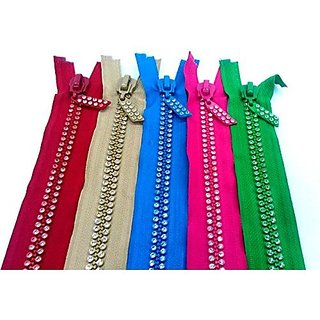 Tailoring Concealed Jarkan ( Diamond ) Studded Zips ,16 Inch (41 Cms )Length , Set Of Multicolored 5 Zips Used In Ladies Suits & Dresses , Plazos Etc