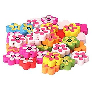 Colorful wooden beads buttons flower shape 40 pcs, size 2 x 2 cm, used in jewellery, scrap booking, art  craft, decorations etc