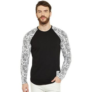 LE BOURGEOIS Men's Black Paisley Round Neck T-Shirt