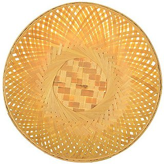 Vardhman Bamboo Fruit Vegetable Basket ,size 9 inch x 9 inch , pack of 12 pcs