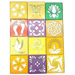 Rangoli Stencil 4 Inch  4 Inch , , Set Of 12