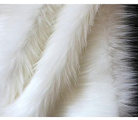 Fur Cloth White Long Hair, Size 38 x 34 , MADE IN INDIA ,9 Cms Hair Length Used For Dresses, Soft Toys Making, Jackets Etc