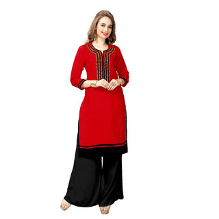 VAIKUNTH FABRICS Embroidered Kurti in Red color and Rayon fabric for womens VF-KU-64