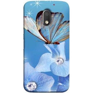 FUSON Designer Back Case Cover for Motorola Moto E3 :: Motorola Moto E (3rd Gen) (In Center Glitter Diamonds Flowers Butterfly Nature)