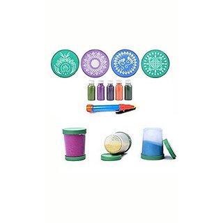 Complete rangoli kit, includes 10 pcs 8  round stencils, 5 color bottles , 1 rangoli pen , 3 fillers
