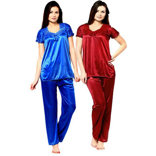 Smooth Satin Solid Nightwear Short Sleeve Night Suit Top  Pajama Set