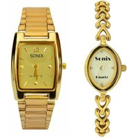 SONIX RECTANGLE-DESIGNER MEN LADIES COMBO WATCH