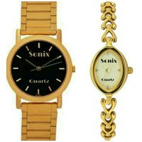 SONIX ROUND BLK DIAL-DESIGNER MEN LADIES WATCH COMBO