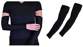 Nandini Black Arm Sleeves for Bikers at Best Prices for Dust and Sun Tan UV Protection 1 Pair