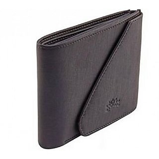 Side Flap Branded Men's Black Leatherette Wallet with Card, Coin and Currency Slot With Full Money Back Guarantee