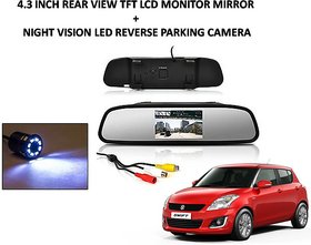 Combo of 4.3 Inch Rear View TFT LCD Monitor Mirror and Night Vision LED Reverse Parking Camera For Maruti Suzuki Swift