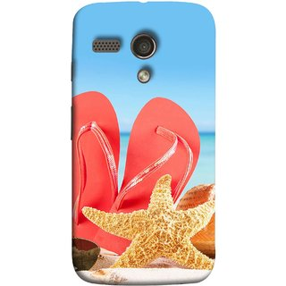 FUSON Designer Back Case Cover for Motorola Moto G :: Motorola Moto G (1st Gen) :: Motorola Moto G Dual (Tropical Beach In Summer Holiday Toy Table Red Chappal)