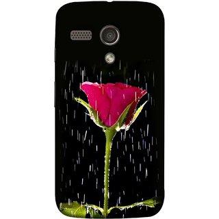 FUSON Designer Back Case Cover for Motorola Moto G :: Motorola Moto G (1st Gen) :: Motorola Moto G Dual (Red Rose Love Pink Water Raining Flowers )