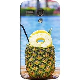 FUSON Designer Back Case Cover for Motorola Moto G :: Motorola Moto G (1st Gen) :: Motorola Moto G Dual (Fresh Pineapple Cocktails At Swimming Pool Blue Waters )