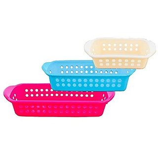 Kuber Industries™ Rectangular Basket Storage Box/Organizer/Container Kitchen Bedroom Bathroom Office - Pack of 3 (Large+Medium+Small) in Assorted colors PL23