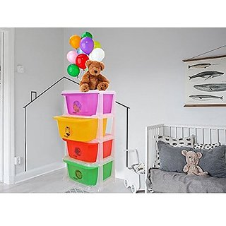 Kuber Industries™ Storage Drawers Basket for Kitchen/Office/Children/Toy With 4 Drawer in Moduler Design (Multiple usages) Basket009