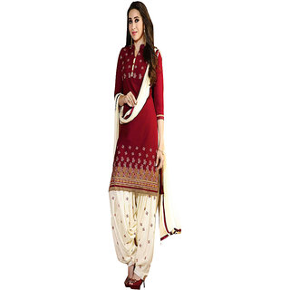 Ffashion Cotton Embroidered Salwar Suit Dress Material (SP-MAROONPATIALA)