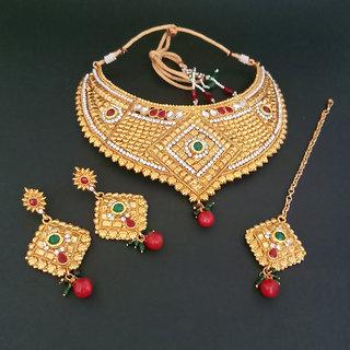JewelMaze Copper Necklace Set With Maang Tikka-FBA0048A